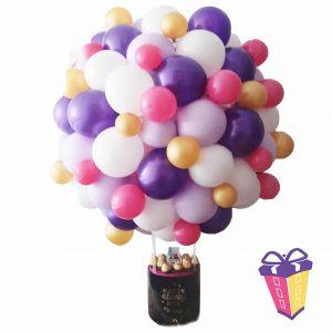 regalo con globos aerostático y chocolates